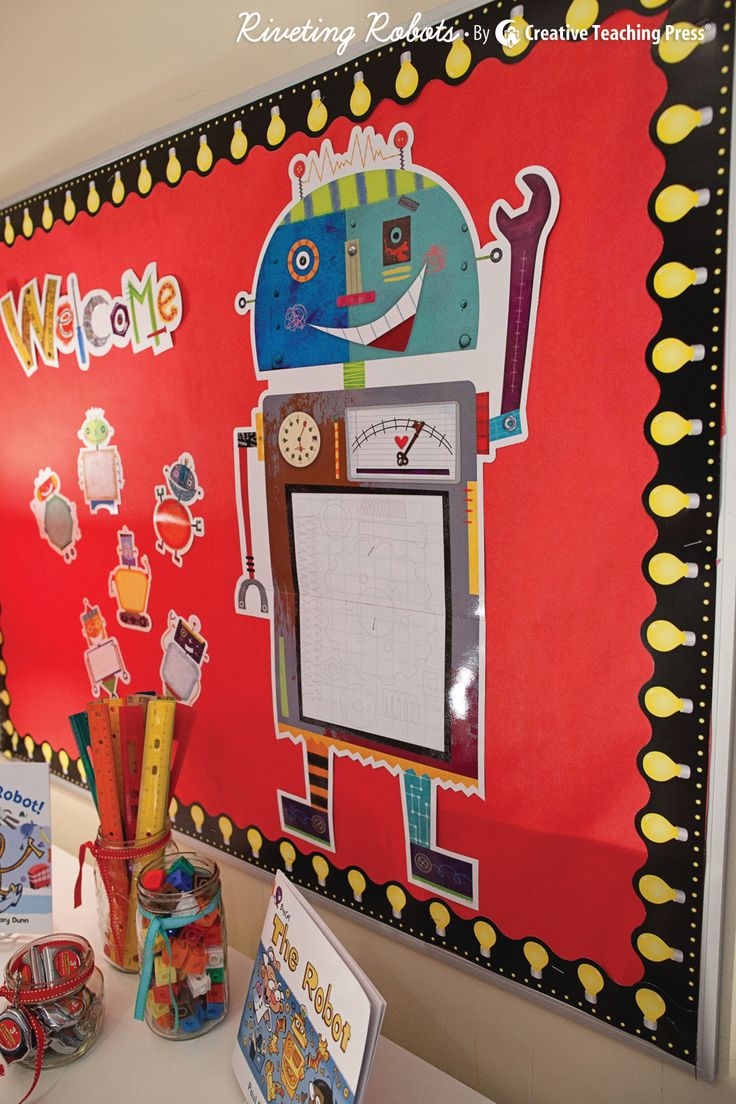 Classroom Decor Set Free : New riveting robots bulletin board set by creative