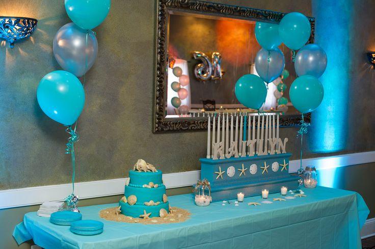 Beach Themed Cake & Candles | Becca sweet 16 | Sweet 16 ...