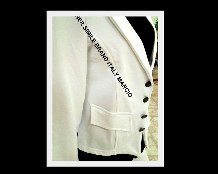 FELPA Giacca BLAZER Marcio simile famoso Brand in  BIANCO Casual DonnaTg.M 2017