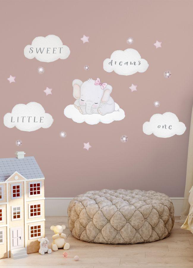 Elephant On Cloud Decal Baby Room Wall Sticker Elephant Nursery