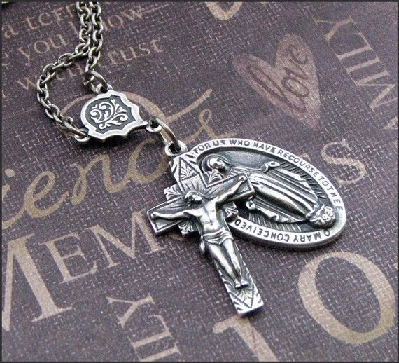 Silver Catholic Medal Necklace - Enchanted Faith - Handmade by…