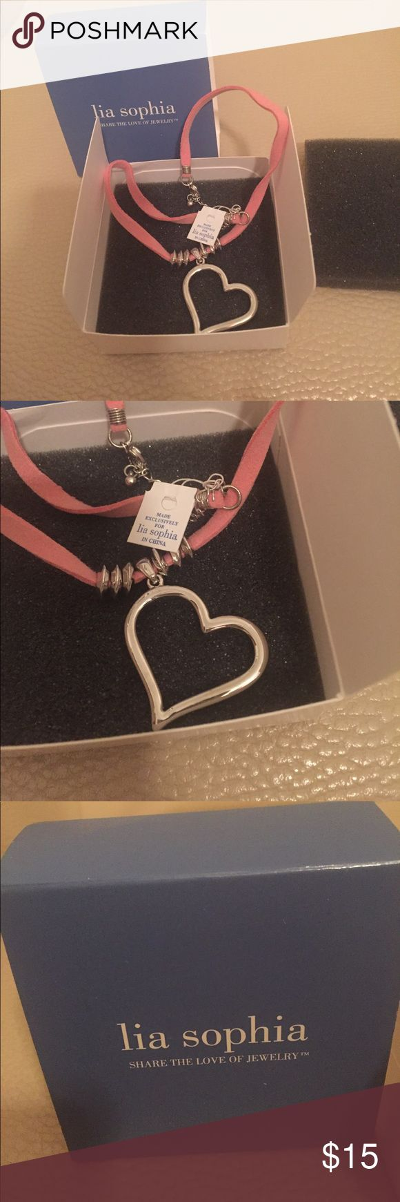 Lia Sophia Heart Necklace Brand new, never worn, tag still attached Lia Sophia silver heart necklace. Lia Sophia Jewelry Necklaces