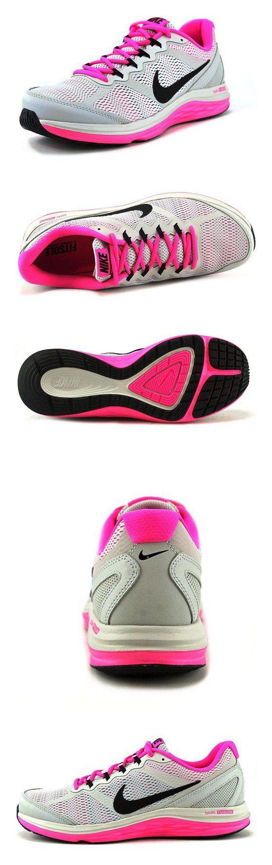 $89 - Women's Nike Dual Fusion Run 3 Running Shoe Grey Mist/Pink Pow/Black Size 11 M US #shoes #nike #2013