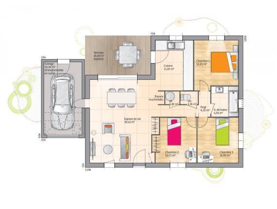 Plan maison plain pied 80m2 cool plan maison plain pied for Maison bois 80m2