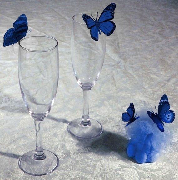 ROYAL BLUE 3D BUTTERFLIES IN HORIZON ROYAL/BLUE/CORNFLOWER/OR DAVID'S BRIDAL COLOUR WEDDING DECORATION x46