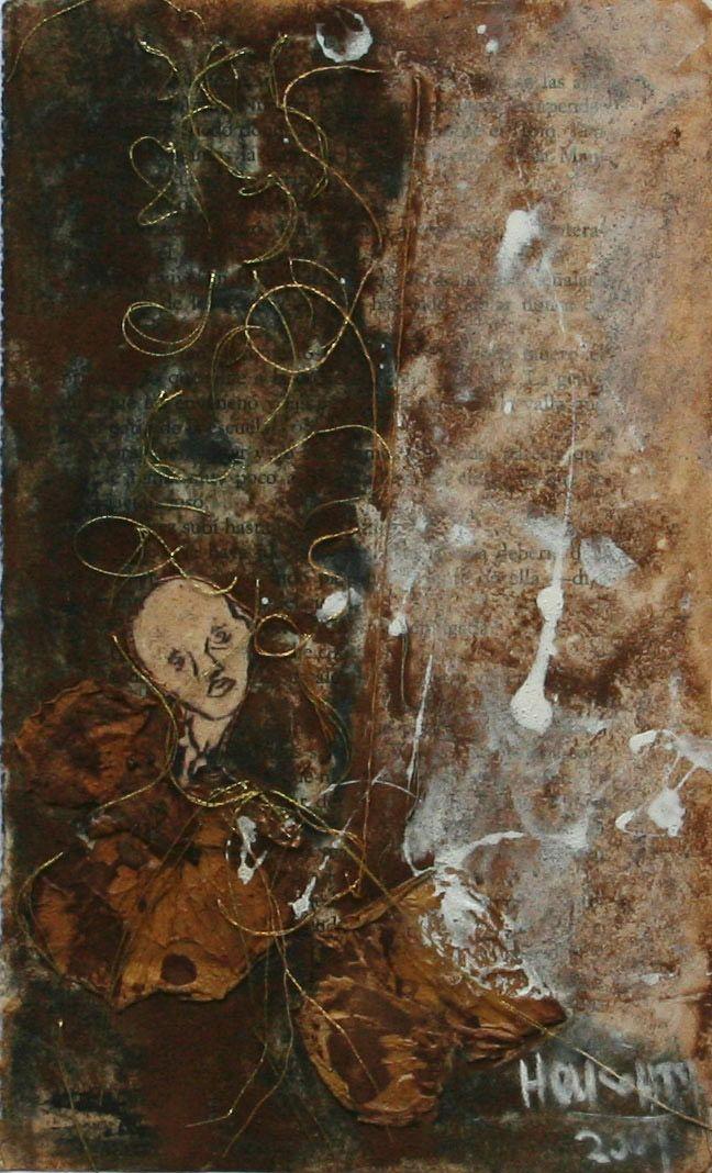 """LiBrO ArTe  """" Cítara mía """" Técnica mixta ( Dibujo, grabado, tinta, hilos)  Creación 2009 Copyright © SARAH HOUGHTON ART"""