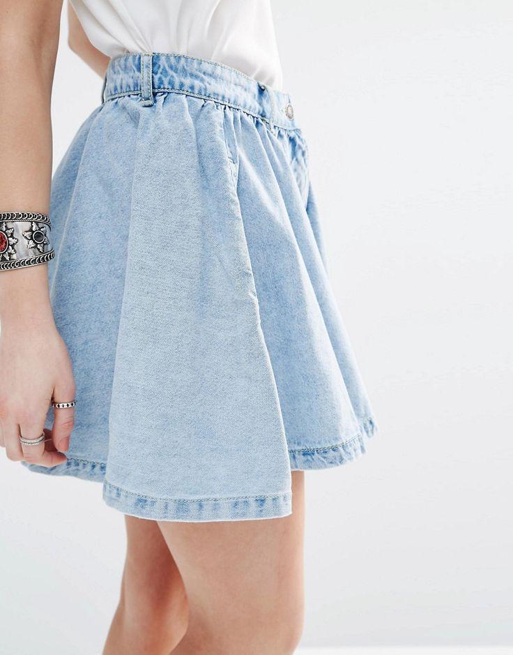 Image 3 - Vero Moda Petite - Jupe patineuse en jean