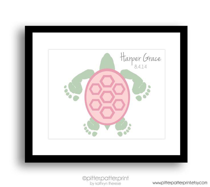 Girls Sea Turtle Baby Footprint Nursery Art Print, Personalized Nautical Nursery, Under the Sea Nursery, Ocean Nursery Decor, Beach Wall Art by PitterPatterPrint on Etsy https://www.etsy.com/listing/229708021/girls-sea-turtle-baby-footprint-nursery