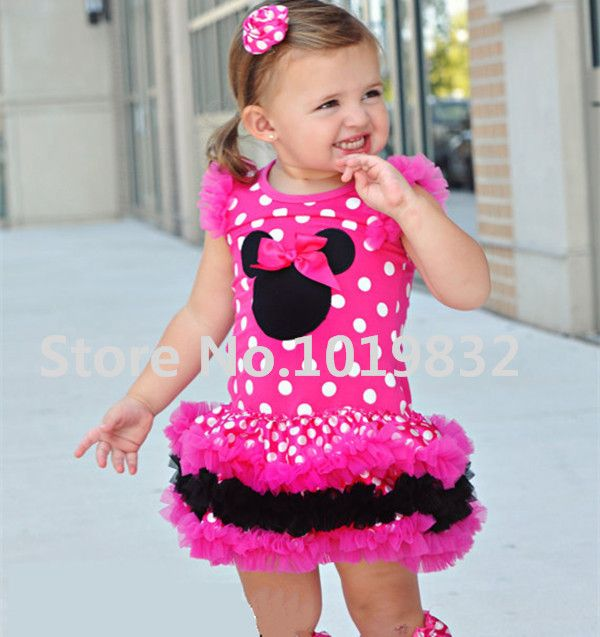 Children Girl Minnie Mouse Dresses Hot Pink/White Polka Dot Layered Dress Girl Birthday Party