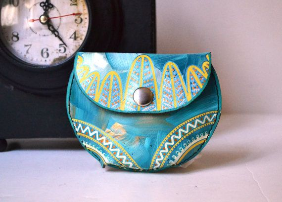 Hand Painted Leather Coin Purse Valentine's by BarbaLeatherStudio