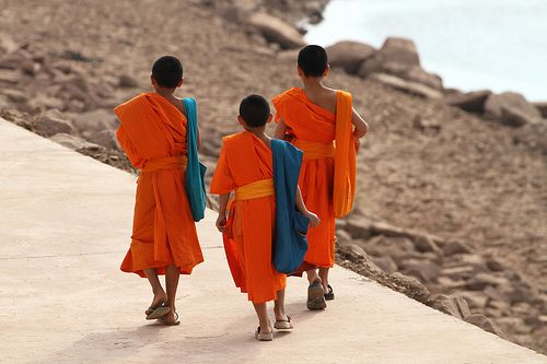 getoutthebox:    Monks walking along the Mekong river in Vientiane, Laos.: Global Inspiration, Remarkable People, Maier Photography, People Colorful
