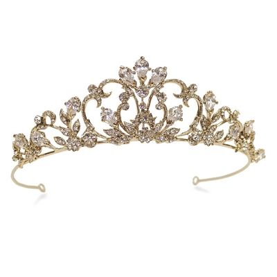 gold and crystal wedding tiara