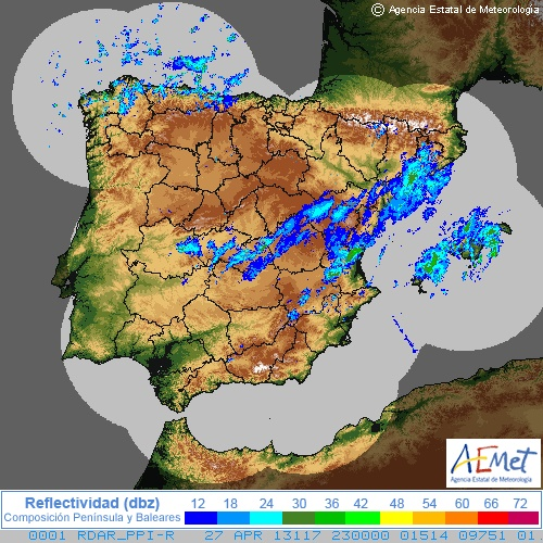Radar de Lluvia Península Ibérica (AEMET)