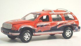 MLB Dodge Durango Car - Cleveland Indians by ERTL. $34.99. 1:25 scale. Officially licensed. Limited edition. Serially numbered. Stylish and trendy. RC125DDBBCLE Features: -1:25 scale die - cast.-Offers superb decoration.-Manufactured to the highest quality available.-Satisfaction ensured.-Great gift idea. Color/Finish: -Official Cleveland Indians team colors and logo. Dimensions: -Overall dimensions: 4'' H x 1'' W x 8'' D. Collection: -ERTL Bike collection.. Save 17%!
