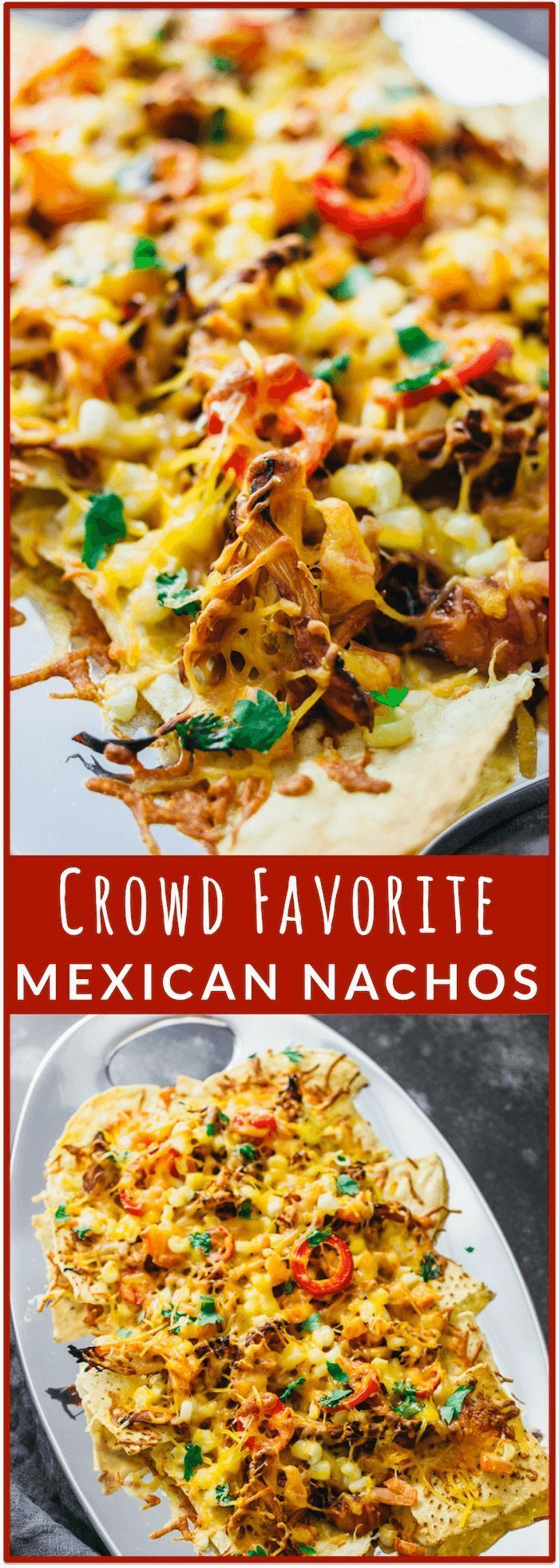Loaded Mexican nachos with chicken - These LOADED Mexican nachos are super savory and hearty with shredded chicken, diced tomatoes, a splash of corn, sliced jalapeo, and plenty of shredded cheese. This is the perfect recipe for making baked nachos that a