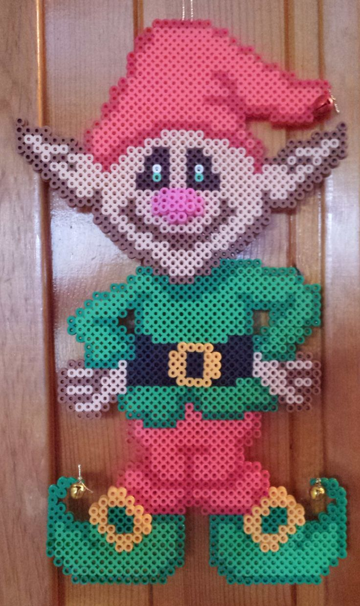 Christmas elf perler beads by Joanne Schiavoni