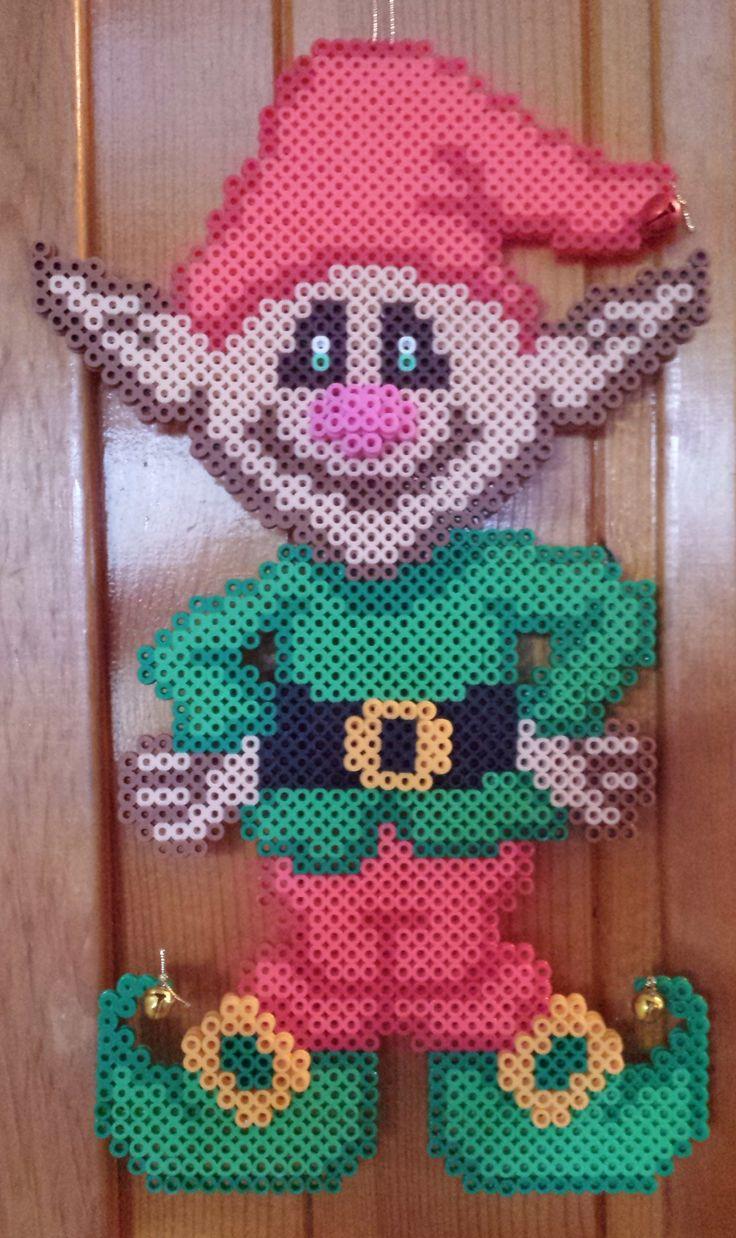 Christmas elf perler beads by Joanne Schiavoni
