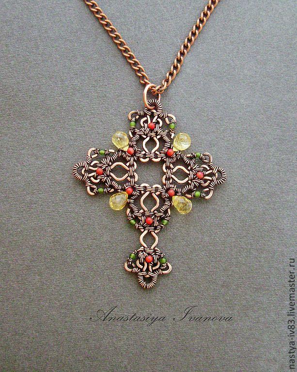 Купить Крест - крест, украшения, кулон, подвеска, медь, цитрин, агат, коралл, зеленый, красный