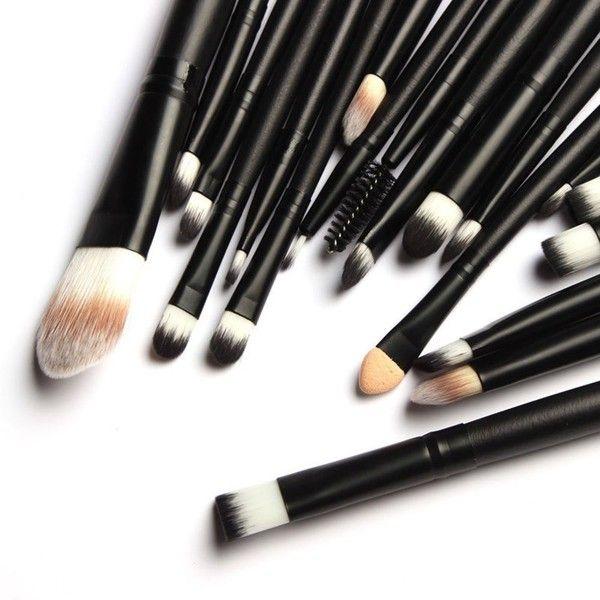 Bienaime Professional Makeup Brush Set Cosmetics Foundation Blending... ($7) ❤ liked on Polyvore featuring beauty products, makeup, makeup tools, makeup brushes, beauty, black kit, black oxide kit, makeup powder brush, craft kits and black makeup brushes