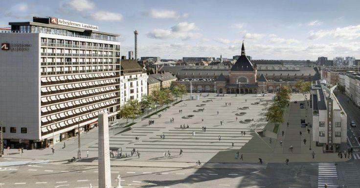 En stor attraktiv plads med overdækket cykelparkering i stedet for den åbne banegrav midt i byen.