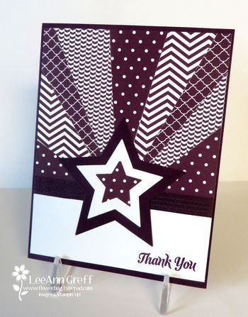 Stampin' Up! ... handmade Starburst Card ... layered die cut star with rays of patterned papers ... monochromatic ... deep purples ... luv the precise look of the papers ... great card!