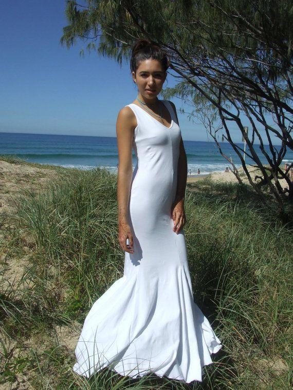 Beach Wedding Dress White Maxi Low V Back Godets Organic Cotton Lycra Eco Friendly