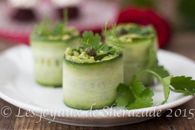 roulé de concombre-avocat pour apéritif dînatoire