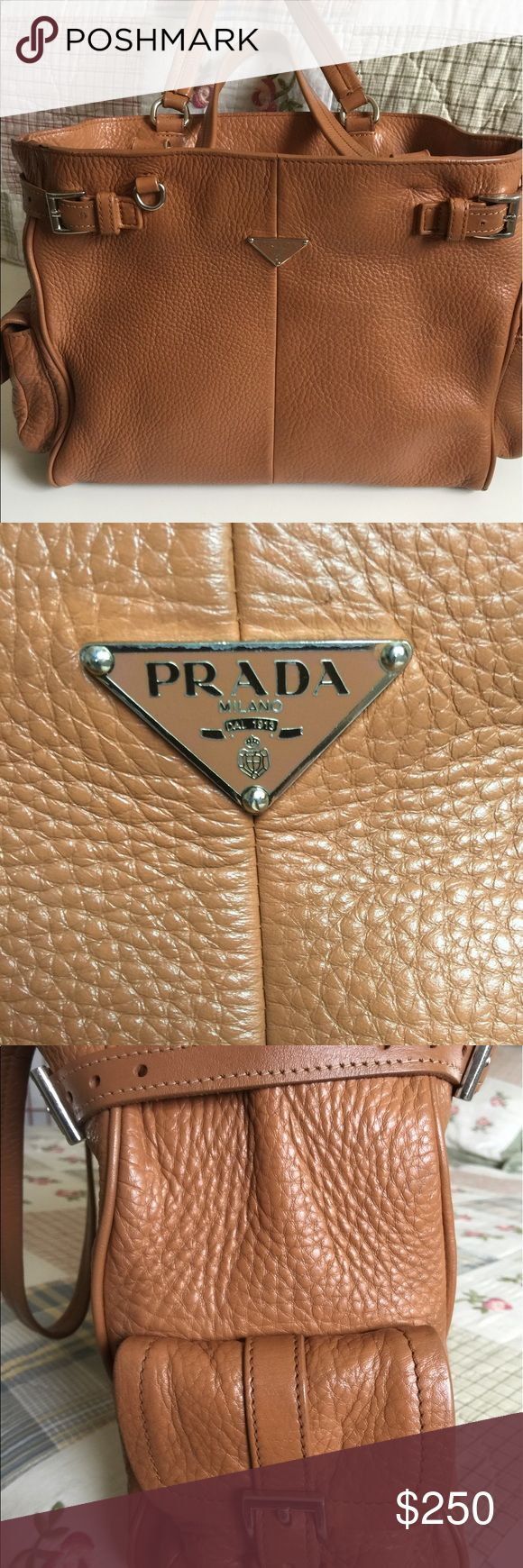 Prada tote bag Selling vintage Prada tote bag. Genuine leather. Authentic. Shows signs of wear. Please look at pictures carefully. Stain on inside of purse. Loose stitches on edge close to strap. Otherwise, great condition. Price is firm. Prada Bags Totes