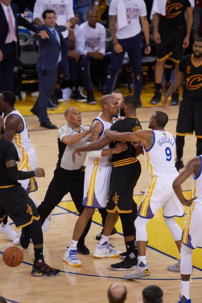 NBA Finals Golden State Warriors David West during confrontation vs Cleveland Cavaliers Tristan Thompson at Oracle Arena Game 5 Oakland CA CREDIT...