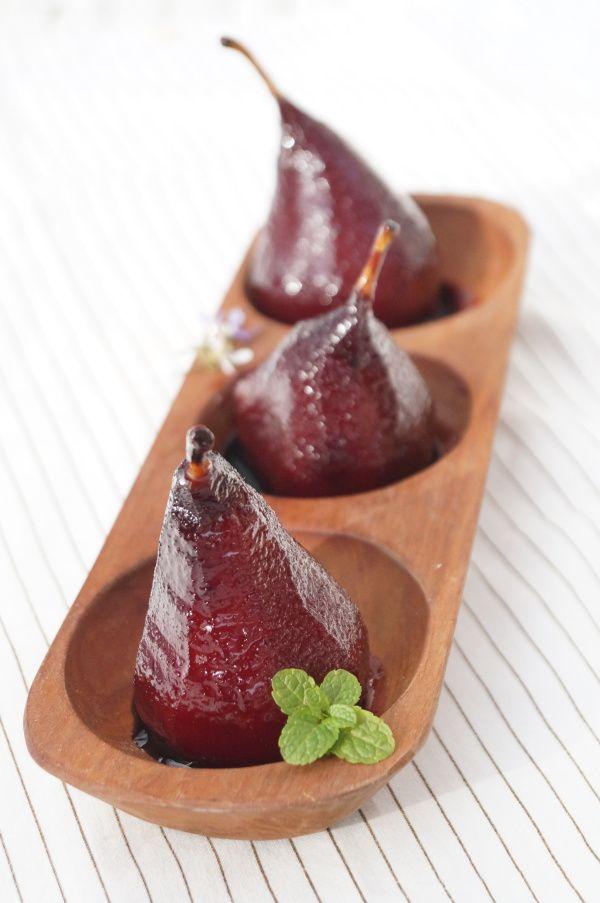 peras con vino