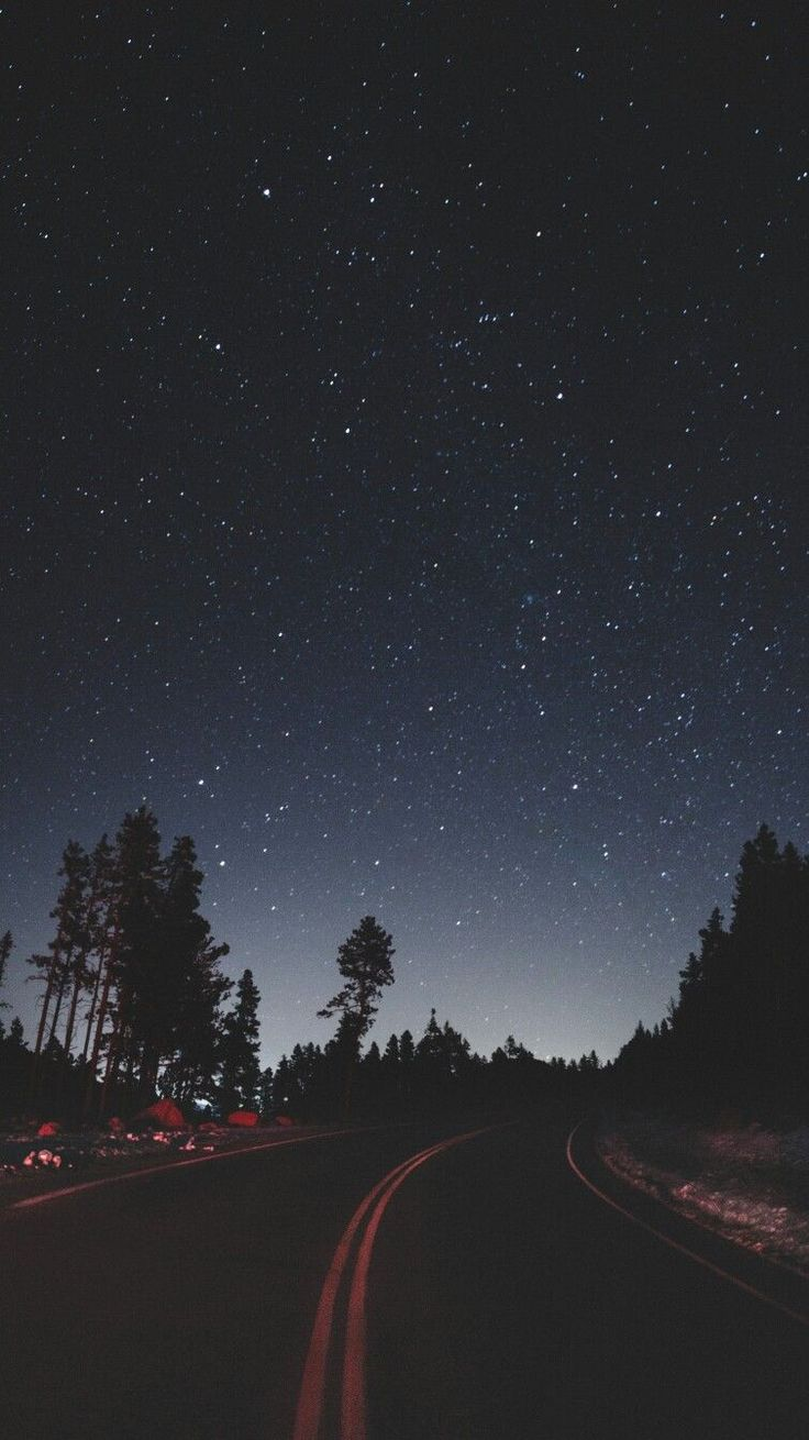Night Stars Road Side Camping iPhone Wallpaper