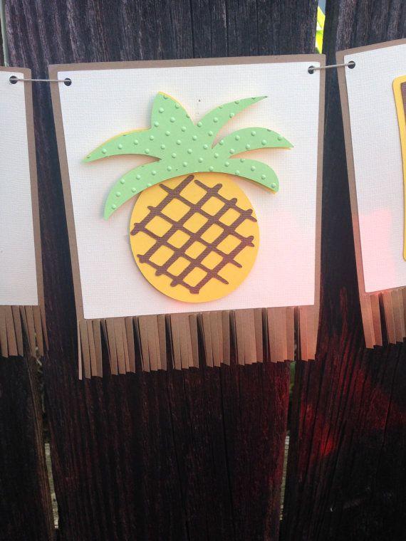 Hawaiian Tiki Bar Handmade fringed pennants by NutmegTartalaCarte