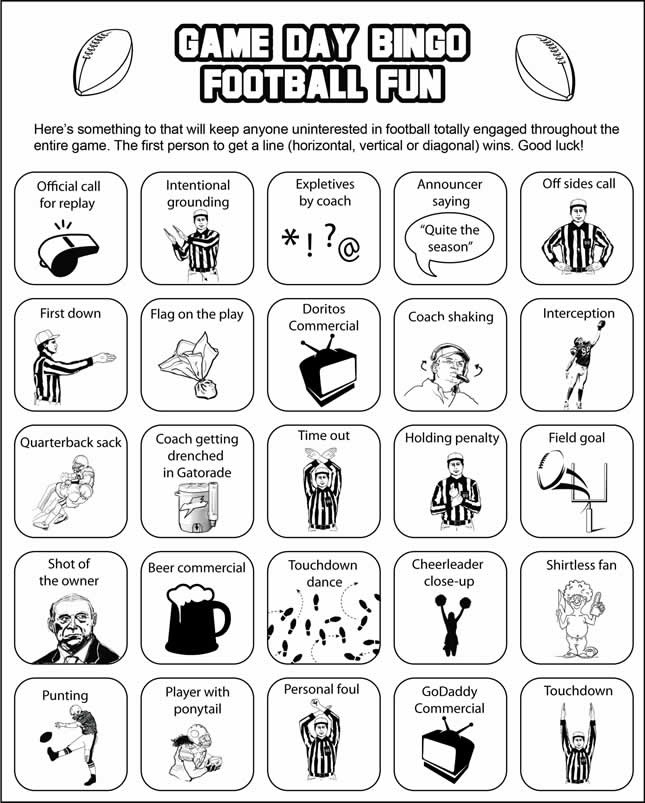 Super Bowl Bingo -- now everyone can be interested in the game