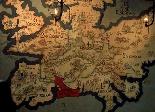 map of the 9 kingdoms (The 10th Kingdom) I want this image on a wall in my future home.