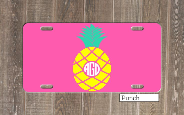 Pineapple Monogrammed Customized License Plate - Choose your colors! Monogram Beach Car Tag Vanity Front Plate Personalized Gift Customize by TheMonogramStand on Etsy