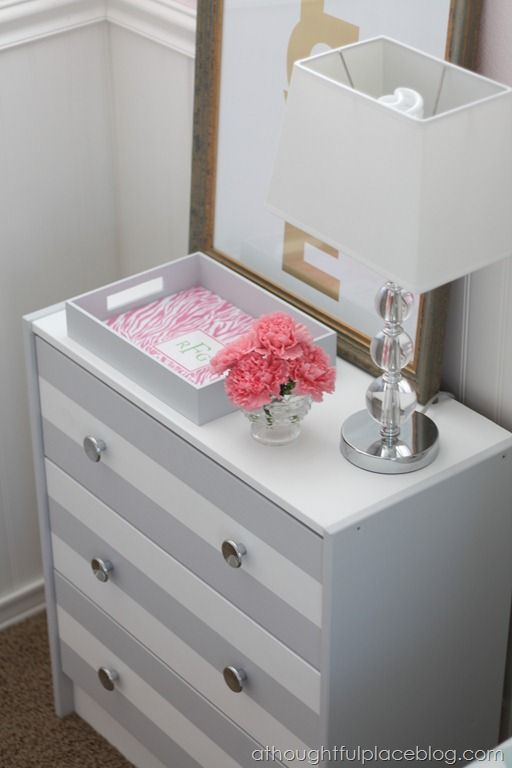 grey, white, pink, gold nightstand
