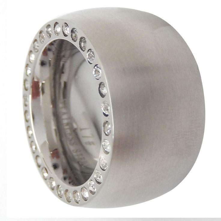 Edelstahl Ring Damen silber matt massiv 14mm weiße Steine Svarowski Zirkonia