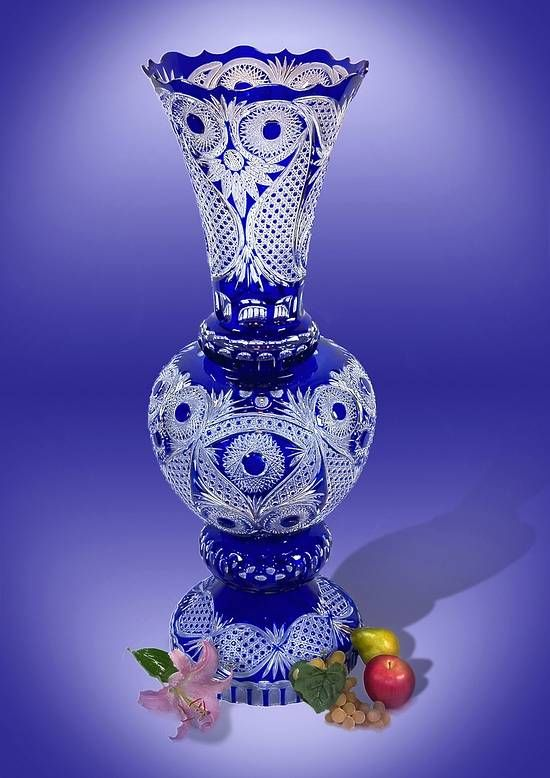 """At 37.5 Inches Tall and a Weight of Well Over 40 lbs. There is No Known 24% Lead """"Cased"""" Crystal Vase in The World.  Currently Made Larger or Near the Size of the Tradition Vase.  Exclusively from the GUS (Goose) Crystal Factory"""