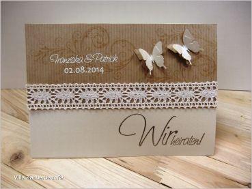 Villa Zauberbaum - Bastelset Hochzeitseinladung Vintage Butterfly Schmetterling