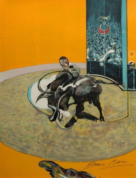 Francis BACON (1909-1992).  Miroir de la tauromachie.  Texte de Michel Leiris illustré du Tryptique de la tauromachie - Portrait de Michel Leiris, quatre lithographies en couleurs sur papier Arches, en… - Morand - 09/10/2015