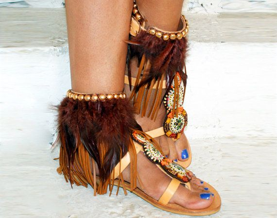 Leather sandals/Handmade Sandals/Tribal sandals/  by magosisters