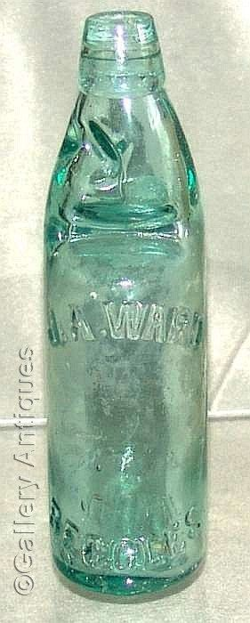 Large Antique Edwardian J A Ward Beccles Aqua colour Glass mineral Codd water Bottle with Marble c.1900's (ref: 4059)