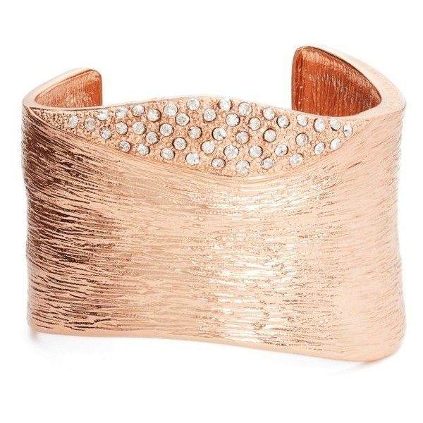 Women's Karine Sultan Textured Cubic Zirconia Cuff ($98) ❤ liked on Polyvore featuring jewelry, bracelets, rose gold, sparkle jewelry, cuff jewelry, cz jewellery, cubic zirconia bangles and cuff bangle