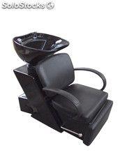Lavacabezas tapizado en negro con reposa brazos y apoya pies reclinable