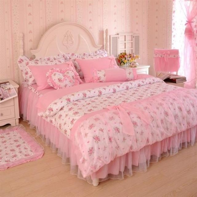 rustic princess bedding lace bedspread bed skirted 100 cotton six pieces set pinkin