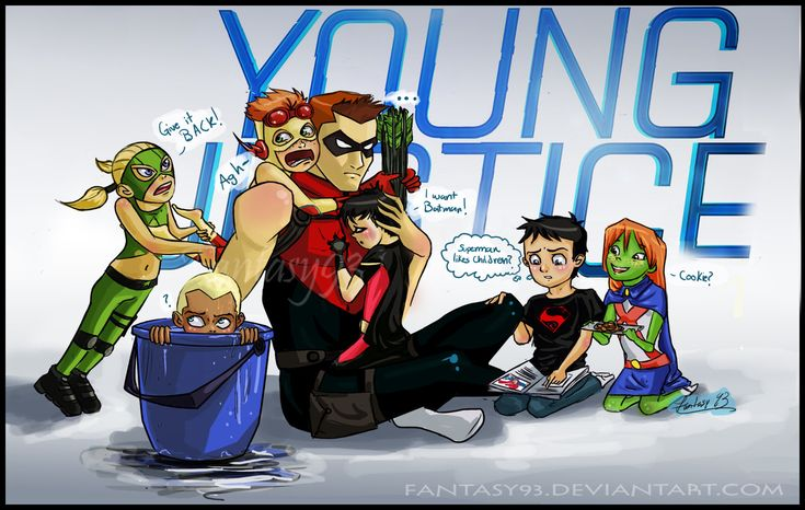 """HeroSitting"" young justice If you follow a couple links it will lead you to a story that goes along with this and is adorable."