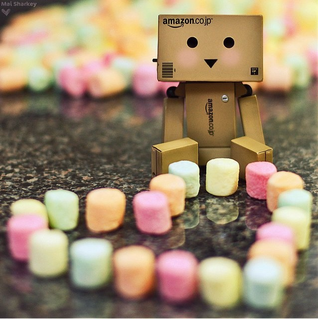 Danbo, hearts, sweets