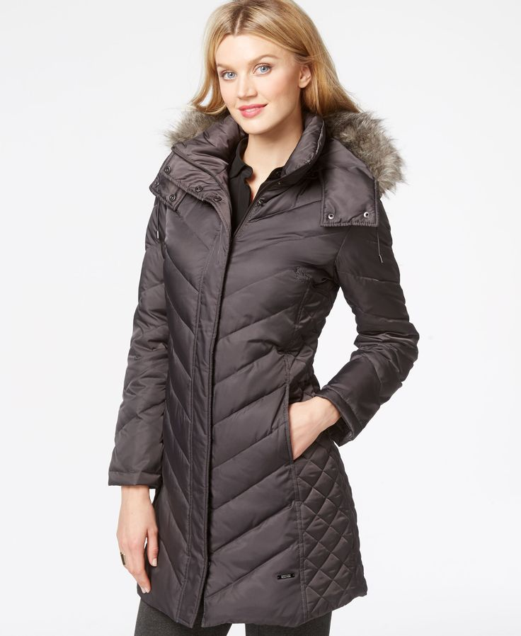 Kenneth Cole Plus Size Faux-Fur-Hood Puffer Down Coat