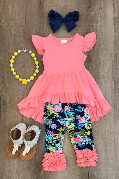 Navy and Coral Floral Hi-Low Tunic Capri Set - Sparkle in Pink
