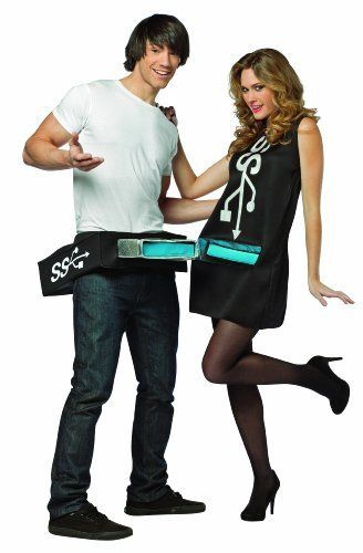 Usb port and stick is a humorous couples costume This comes as two separate tunics packed together